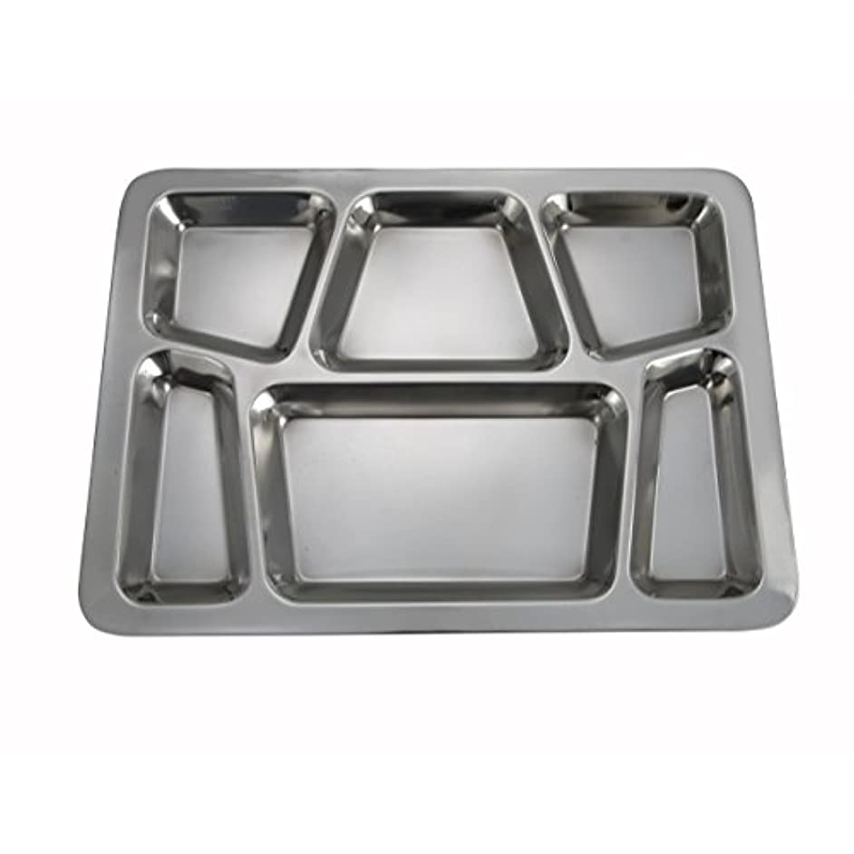 Winco - 6-Compartment Mess Tray, (Style B), (Silver) (Set of 4)