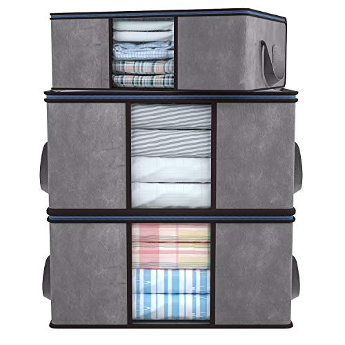 DIMJ 3 Stück Große Aufbewahrungstasche, Allzwecktasche Faltbare Unterbett Kleideraufbewahrung, Lagerung mit verstärktem Griff, Aufbewahrung für Bettdecken, Kleidung, Decken, Kissen Lagerung, Grau