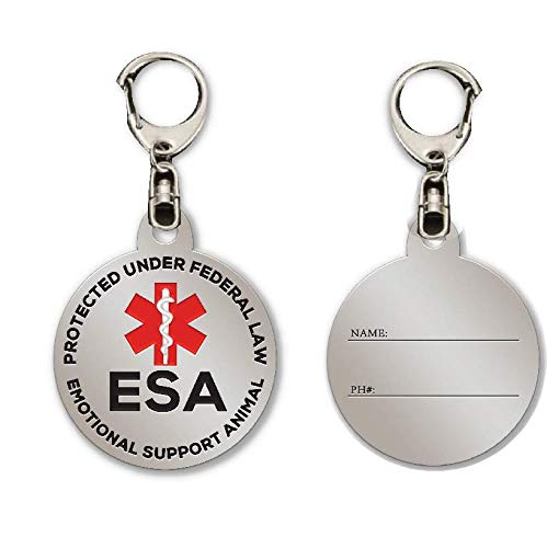 ADESIGNSTORE ESA Dog Tag - Emotional Support Animal Dog Cat Pet ID Tag - ESA Medical Name Stainless Steel ID Tag -Red Medical Alert Symbol and Protected by Federal Law