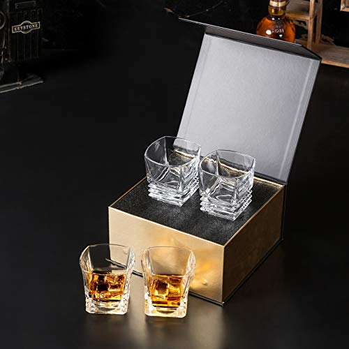 KANARS Square Whiskey Rocks Glass - Premium Lead Free Crystal Scotch Tumbler for Bourbon or Whisky - 9 Oz Set of 4 - Unique Luxury Gift Box for Best Friends