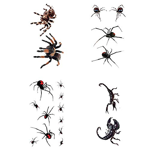 Halloween tattoos 3d Realistic Spider Scorpion Tattoo Stickers for Men Women Halloween Masquerade and Party Favor Supplies (4sheets)
