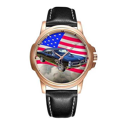 Personality Mode wasserdichte Herren-Armbanduhr Analoges Quarzlederband Mit Gold-213.1967 Pontiac GTO and American Flag Wrist Watches