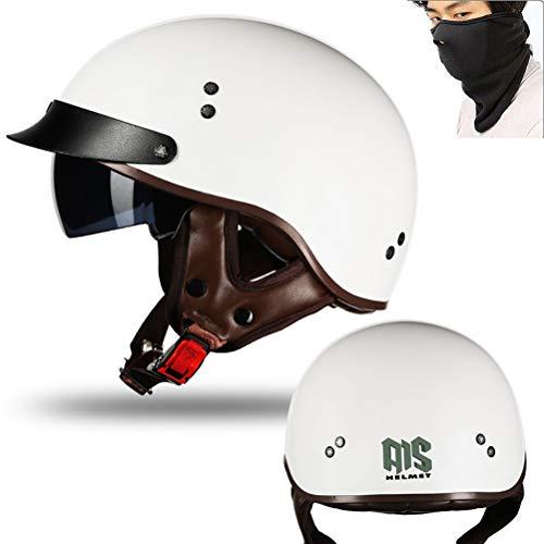 Preisvergleich Produktbild MTTKTTBD Motorrad Halbhelme Brain-Cap · Halbschale Motorrad-Helm Jet-Helm Roller-Helm Scooter-Helm Mofa-Helm Retro Harley Motorrad Half Helm mit Built-in Visier für Cruiser Chopper Biker