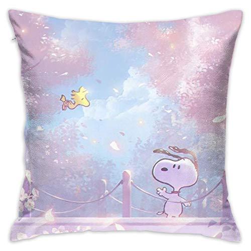 Suzanne Betty Funda de cojín de Snoopy decorativa funda de almohada para sofá, asiento de coche, suave 45,7 x 45,7 cm
