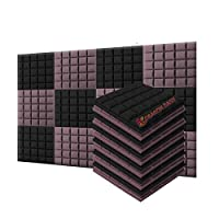 新しい12ピース 500 x 500 x 50 mm 半球グリッド 吸音材 防音 吸音材質ポリウレタン SD1040 (黒とブルゴーニュ)