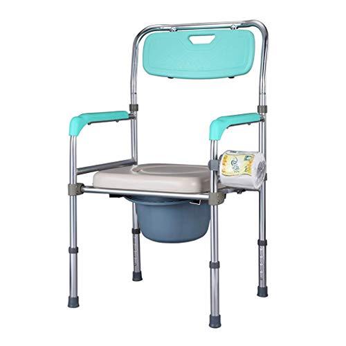 OCYE Opvouwbare nachtkastje Commode, multifunctioneel met toiletpot en kussen, draagbare toiletstoel douchestoel medische rolstoel, verstelbare hoogte