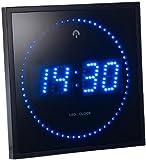 Lunartec LED Funkwanduhr: LED-Funk-Wanduhr mit Sekunden-Lauflicht durch Blaue LEDs (Digitale LED-Uhr mit Funk)