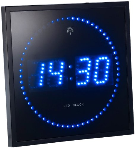 Lunartec LED Funkwanduhr: LED-Funk-Wanduhr mit Sekunden-Lauflicht durch Blaue LEDs (Digitale Wanduhr beleuchtet)
