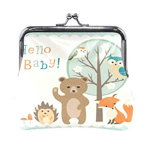 Monedero de bebé con diseño de animales del bosque, estilo retro, con hebilla de cierre de beso, para mujeres y niñas