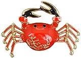 Broche JXtong2 con diseño de cangrejo rojo y dorado para bufanda, accesorios de ropa, broche de aleación