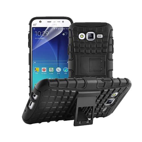 betterfon   Outdoor Handy Tasche Hybrid Hülle Schutz Hülle Panzer TPU Silikon Hard Cover Bumper für Samsung Galaxy J5 SM-J500 Schwarz