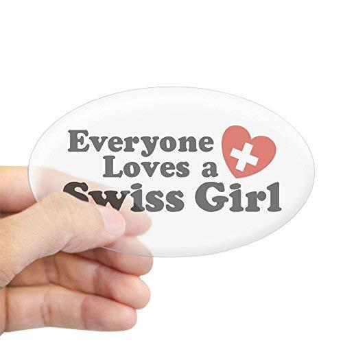 Iedereen houdt van een Zwitsers meisje ovale Sticker Stickers Grappige Bumper Stickers voor auto's Leuke Vinyl Sticker Stickers voor Laptop Windows Van Truck Nieuwigheid Kerstcadeaus