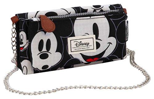 Disney Classic Mickey Visages Münzbörse, 20 cm, Schwarz (Negro)