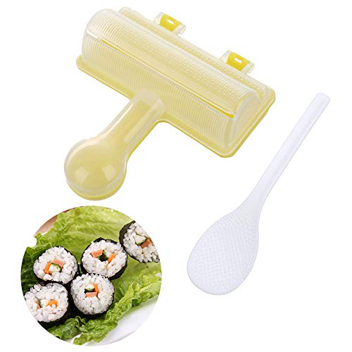 Guanici Kreativität Rice Ball Moulds Sushi machen Schimmel Shake Rice Ball Mould DIY Sushi Maschine Sushi Onigiri Form DIY Reisball Maker mit Löffel Küche DIY Bento Zubehör Werkzeuge für Kinder 2Stück