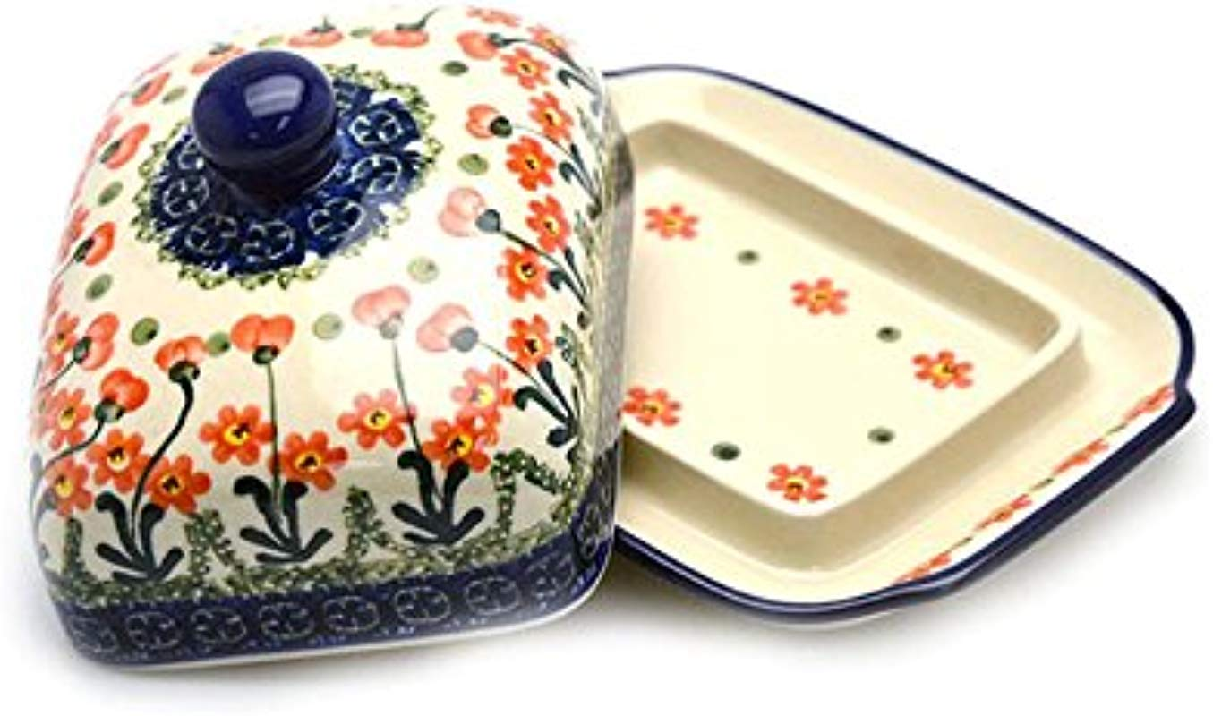 Polish Pottery Butter Dish Peach Spring Daisy