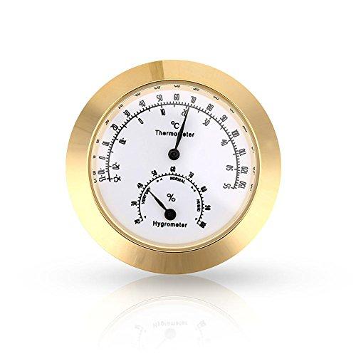 Dilwe Musikinstrument Thermometer Hygrometer, Runder Luftfeuchtigkeits Temperatur Meter für Violinen Gitarren Fall (Gold)