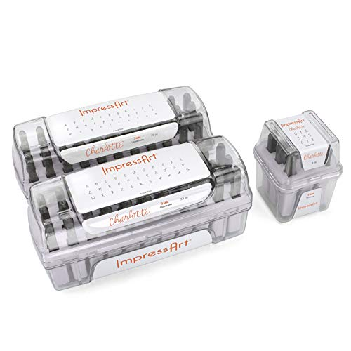 ImpressArt - Charlotte Metal Stamping Letter & Number Bundle, Hand Stamping Set for Metal Stamping Jewelry