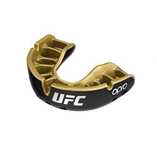 OPRO Protector bucal UFC niños para MMA, Boxeo, BJJ, Karate y Otros Deportes de Combate - 18 Meses de garantía Dental … (Negro, Nivel de Protección: Oro)