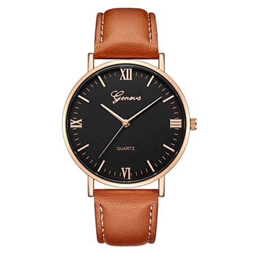 ファッションビッグダイヤル男クォーツ時計レザー腕時計スポーツはアナログ時計を見ます Annacboy