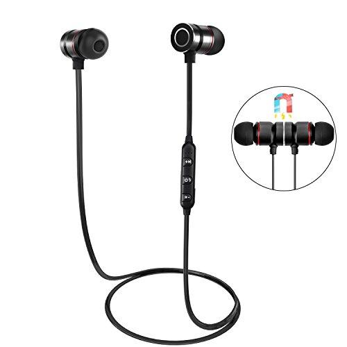 Auriculares Bluetooth, HENGKEXIN Magnéticos Casco Bluetooth 4.1 Auriculares Deportivos Inalámbricos con Mic, estéreo, para iPad, iOS y Android-Black