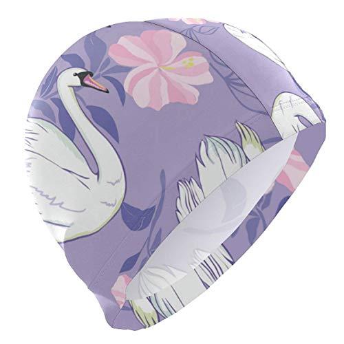Hdadwy Gorro de natación de lycra, gorro de baño de alta elasticidad para cabello largo y corto, cisne blanco y flores Gorros de natación Mujer Hombres Adolescentes Sombrero de talla única no impermea