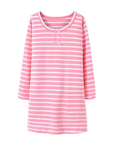 DianShaoA Mädchen Süß Slim Fit Pyjama Nachtwäsche Langarm Einfach Streifen Schlafanzug Pink 130