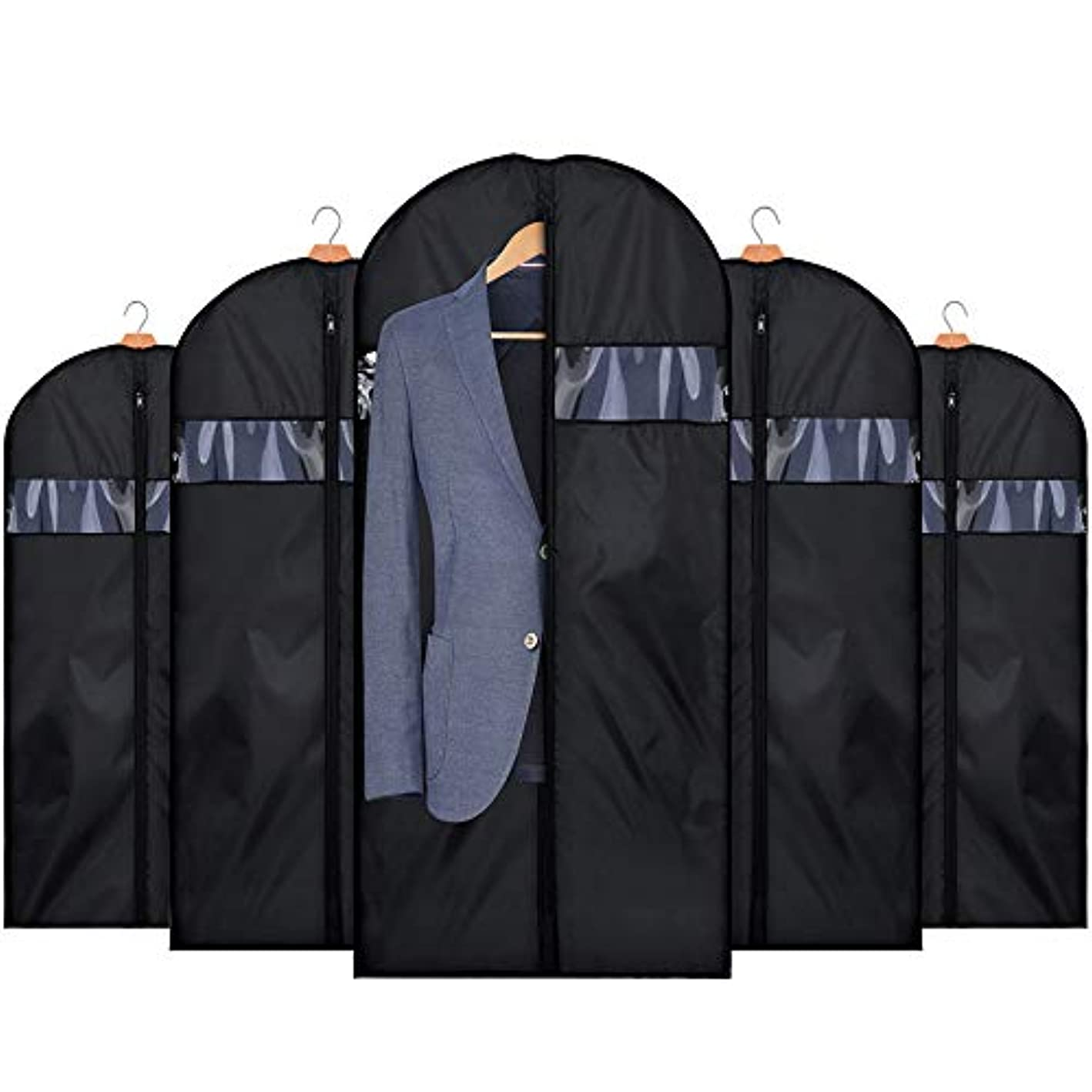 HOUSE DAY Garment Bags for Storage 5 Pack 42 inch Garment Bags for Travel Foldable Storage Bags Suit Covers for Closet,Washable Garment Suit Cover for Dresses,Suits,Coats