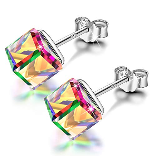 NINASUN Gifts for Her Christmas Hooked on You 925 Sterling Silver Stud Earrings Necklace Cubic Crystals from Swarovski Jewelry Set for Girls with Gift Box Multicolor