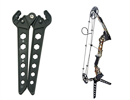 Sportsmann Archery Compound Bow Kick Stand Holder Bow Limb Clamp Stand Shelf Kickstand Legs Black for Hunter Hunting Range Compound Bows Recurve Traditional Bow Target Shooting Practice Games