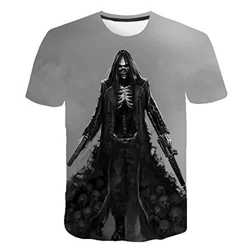 TJJY Verano Nueva Camiseta 3D para Hombre, Camiseta con Estampado de Calavera, Estampado de Cine y televisión, Moda Informal, Manga Corta, Disfraz de Anime, Halloween-XL