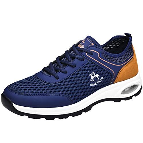 Xmiral Herren Laufschuhe Leicht Straßenlaufschuhe Atmungsaktiv Turnschuhe rutschfest Schnürer Sportschuhe Fitness Schuhe(41,Blau)