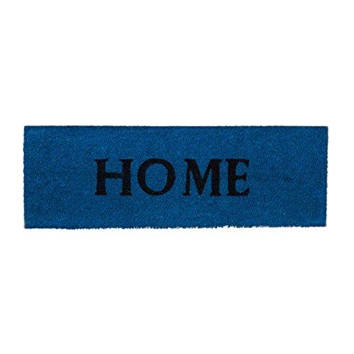 Relaxdays Fußmatte schmal HOME aus Kokos Gummi PVC rutschfest als Fußabtreter als Schmutzfangmatte für Balkon, Terrasse, Flur HBT: ca. 1,5 x 75 x 25 cm, blau