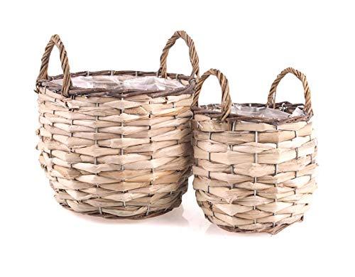 TINTOURS Lot de 2 paniers pour Plantes avec Folie/Panier en Jacinthe d'eau pour la Maison et Le Jardin