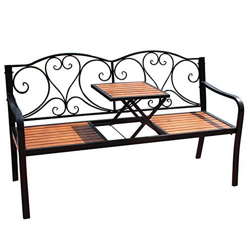 Park Terrasse Bank Gusseisen Gartenbank, Wetterfeste Lounge-Bank Freien mit Verstellbarem Mitteltisch, 2-Sitzer Retro Metallbank mit Rückenlehne Armlehnen, Dekorative Rasenbänke für Innenhöfe Verand