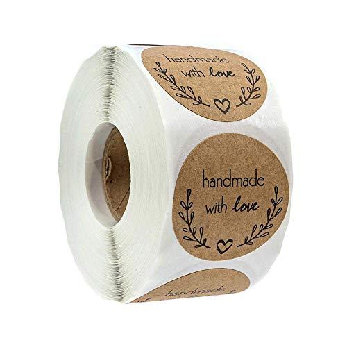 500 Etichette Autoadesivo handmade with love realizzato a mano con font nero su carta Round Baking Sticker kraft etichette adesive per rotolo 1 Roll