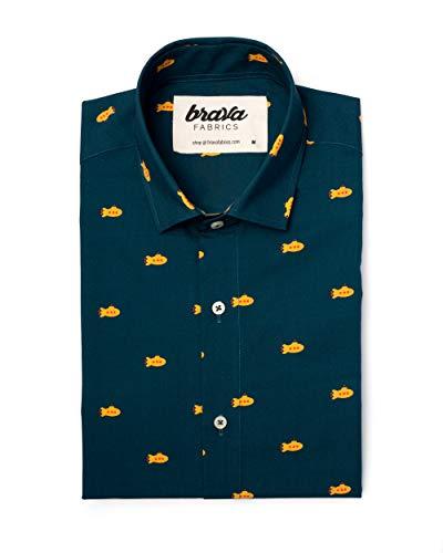 Brava Fabrics - Herren Hemd - Hemd für Herren - Herrenhemd - 100% Baumwolle - Modell Yellow Submarine