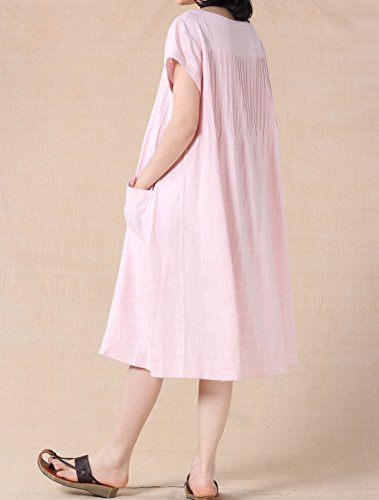Mordenmiss Women's Cotton Linen Tunic Dress Pleated Short Sleeve Sundresses Summer Daily Pullover with Pockets L Off White