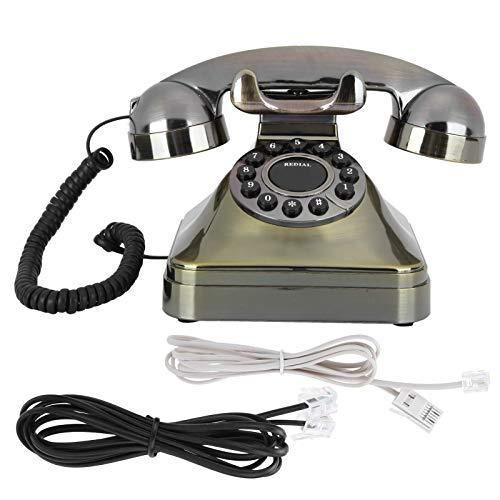 Ruleta Antigua Teléfono Fijo Teléfono de Bronce Antiguo Modelado Vintage Estilo Antiguo Teléfono portátil de decoración del hogar Regalo para un Anciano