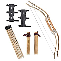in budget affordable Wise Warrior – Wooden Bows and Arrows for Kids – 2 Sets with Armbands – 20 Arrows, 2 Bows, 2…