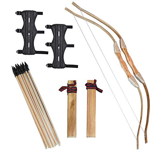 Clever Warrior - Wooden Bow and Arrow for Kids - 2 Sets with Arm Guards - 20 Arrows, 2 Bows, 2 Quivers and 2 Arm Guards - Kids Beginner Archery Set for Outdoor Play and Backyard Games