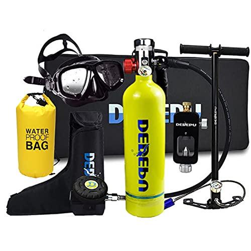 Botellas de buceo Mini Cilindro de oxígeno de Buceo Con Mochila Estanca, Kit de Equipos de Tanque de Buceo portátil de 1L, 25 Minutos de respiración subacuática, Equipo de respirador de Buceo ,Verde