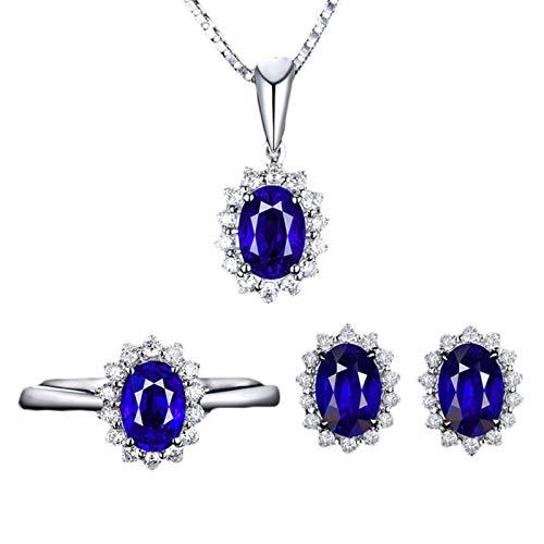 Ruby569y Pendientes colgantes para mujeres niñas, mujeres con incrustaciones de diamantes de imitación ovalados, collar y pendientes de anillo abierto conjunto de joyas - azul