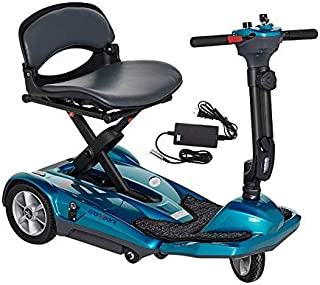 EV Rider Transport M EZ(Easy Move) S19M Fold Manual Folding Electric Mobility Scooter for Adults Seniors Handicapped Lightweight Mobility Travel Scooter, 11.5 Ah Li Battery Pack-Sea Blue