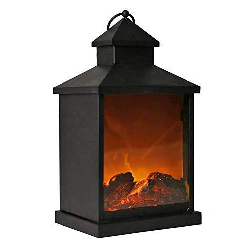 GRUNDIG LED Laterne mit Kaminfeuer Effekt 37cm Tischfeuer Kamin Feuer Wohndeko Dekolicht