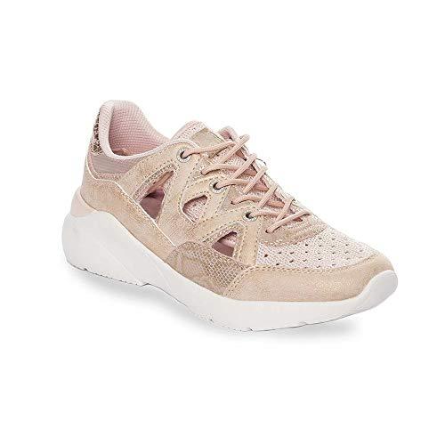 Zapatilla Sneaker Yumas Natacha Rosa Fabricado en Nylon Perforado y Microfibra Plantilla Confort Latex para Mujer