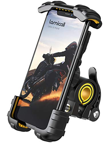 "Phone Holder Mount for Bike Handlebar - Lamicall Motocycle Cell Phone Clamp, Scooter Phone Mount for iPhone 11/ iPhone 11 Pro/iPhone 11 Pro Max, S9, S10 and More 4.7"" - 6.8"" Smartphones - Yellow"