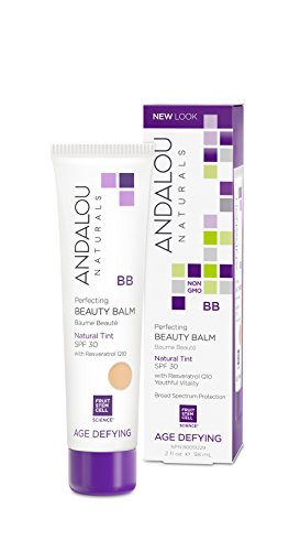 Andalou Naturals Perfecting BB Beauty Balm Tinted Moisturizer with SPF 30, Natural, 2 Ounces