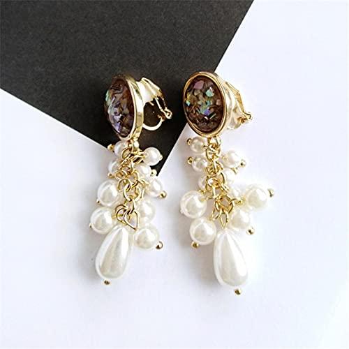FEARRIN Pendientes de Moda inusuales para Mujer, niña, Pendientes de aro, joyería, Pendientes de Perlas de Concha para Mujer, Clip de Concha marrón