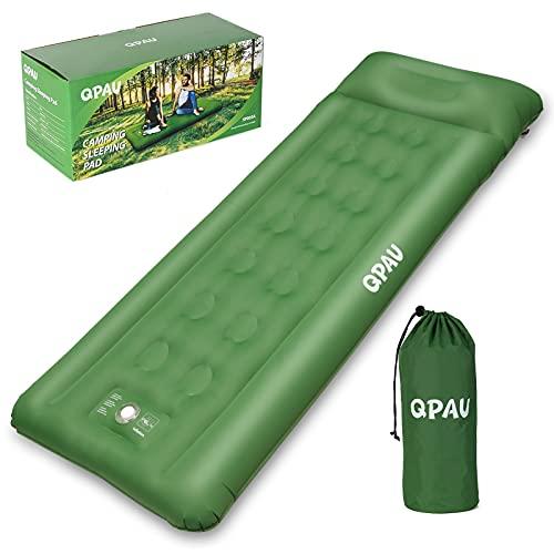 QPAU Materasso da Campeggio Autogonfiabile, Materassino da Campeggio Per Backpacking ed Escursionismo, Materasso Compatto e Ultraleggero, Verde