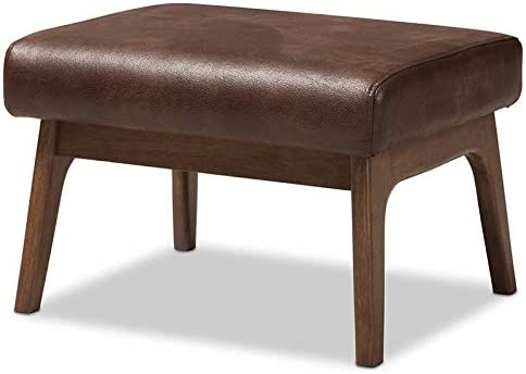 Baxton Jacksonville Mall Studio Bianca Max 71% OFF Faux Leather Ottoman in Walnut Brown Br and